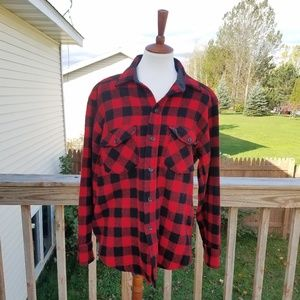 L.L. Bean Red & Black Buffalo Plaid Wool Shirt